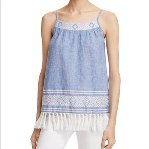 Soft Joie NWT Women's S Agneza Tassel Chambray Top
